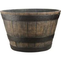 "Whiskey Barrel Planter, 16"" Oak"