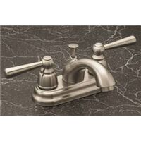 "Two Handle Bathroom Faucet with Pop Up, 4"" Brushed Nickel"