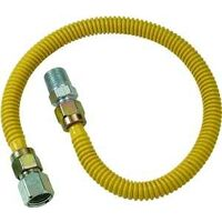 "Coated Stainless Steel Gas Appliance Connector, 3/8"" x 1/2"" x 1/2"" x 18"""
