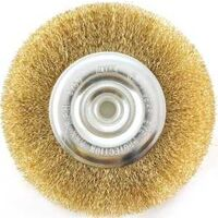 "Wire Wheel Brush with Hole Fine, 6"" Brass"