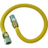 "Coated Stainless Steel Gas Appliance Connector, 3/8"" x 1/2"" x 1/2"" x 30"""