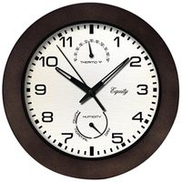 CLOCK WALL W/THERMO 10IN BROWN