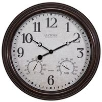 CLOCK WALL W/THERMO 15-1/2IN