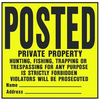 POSTED LEGAL PLASTIC SIGN