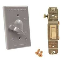 Single Gang 3 Way Switch Cover, 15A Gray