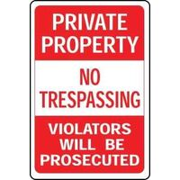 "No Tresspassing Private Property Sign, 12"" x 18"""