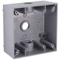 Aluminum 2 Gang 3 Threaded Outlet Box, Grey