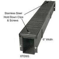 "Steel Grate Trench Drain, 6"" x 1'"