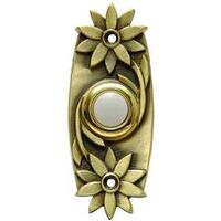 Chime Button Floral Lighted Brass