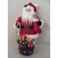 FIGURINE SANTA W/ROPE BAG 17IN