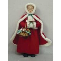 FIGURINE MS CLAUSE BASKET 18IN