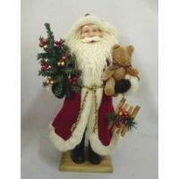FIGURINE SANTA W/BEAR 18IN