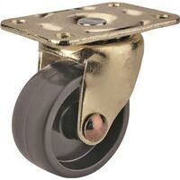 "Swivel Plate Caster, 1 5/8"" Black & Brass"