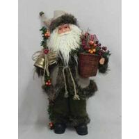 FIGURINE SANTA W/FLOWERS 18IN