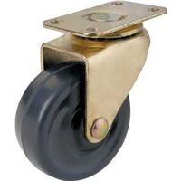 "Swivel Plate Caster with Rubber Wheel, 1 5/8"" Brass"