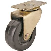 "Swivel Plate Caster with Rubber Wheel, 2"" Brass"