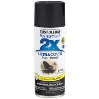 Ultra Cover 2X Spray Paint, 12 oz Satin Canyon Black