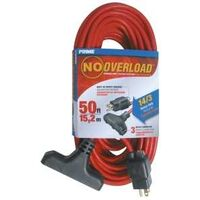 Triple Tap Extension Cord, 50' Red