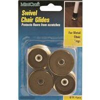 Swivel Chair Glide Brass, 3/4""