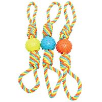 TOY PET ROPE BONE W/TPR BALL