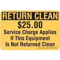 Return Clean $25 Fee Decal
