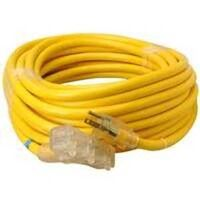 Triple End Extension Cord with Light, 10/3 Gauge x 50&#39; Yellow