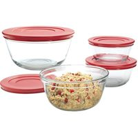BOWL MIXING RED LID 6PC