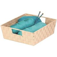 TRAY WOVEN W/HANDLE CREME