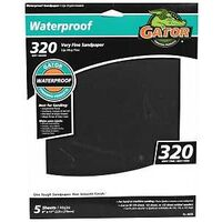 "Waterproof Sandpaper 320 Grit Super Fine, 9"" x 11"" 5 Pk"