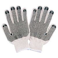 Cotton Knit Gloves with Dots, White