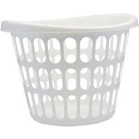 Two Bushel Laundry Basket, White