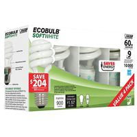 Ecobulb ESL13T/4 Non-Dimmable Compact Fluorescent Lamp, 13 W, 120 V, Mini Twist, 8000 hr