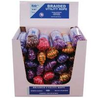 "Braided Poly Rope, 3/8"" x 50' Assorted Colors Box of 30"
