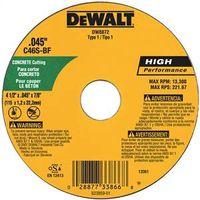 Dewalt DW8072 Type 1 Thin Reinforced Cut-Off Wheel