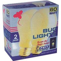 Feit Electric 100A/Y/2 Bug Light Incandescent Lamp, 100 W, 130 V, A19, Medium Screw , - Case of 6