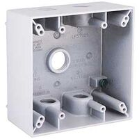 "Two Gang Rectangular Outlet Box, 5 1/2""White"