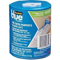 "Plastic Pre-Taped Painters Drop Cloth, 24"" x 30 Yds"