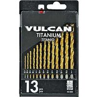 "Titanium Drill Bit Set with Case, 1/16""-1/4"" 13 Pc"