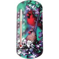 """Suction Cup Window Thermometer with Cardinals, 8"""""""