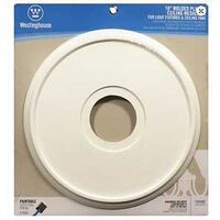 "Continuous Wood Molded Plastic Ceiling Medallion, 16"" White"