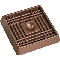 "Square Rubber Caster Cup, 2"" x 2"" Brown"