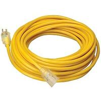 Extension Cord with Lighted End, 50' Yellow