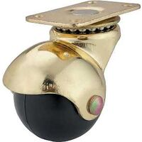 "Hooded Ball Caster with Plate, 1 5/8"" Brass"
