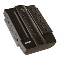PWR BAR 6-OUTLET SWVL BLK
