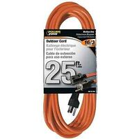 Medium Duty Outdoor Extension Cord, 16/3 Gauge 25'