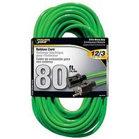 Extension Cord, 12/3 x 80' Neon Green