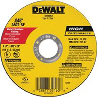Dewalt DW8062 Type 1 Reinforced Cut-Off Wheel