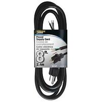 Power Supply Cord, 16/3 x 8' Black