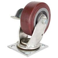 "Plate Caster with Brake, 5"" x 2"" Polyurethane"