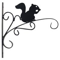"Squirrel Hanging Plant Bracket, 11"" Matte Black"